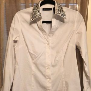 INC white blouse with sequins on collar